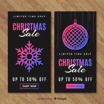 Gradient color elements christmas sale banner