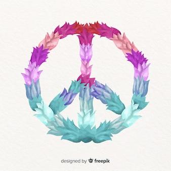 Gradient color floral peace symbol background