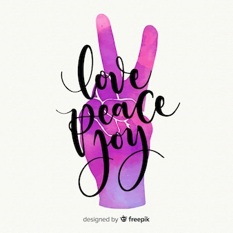 Gradient color hand peace sign background