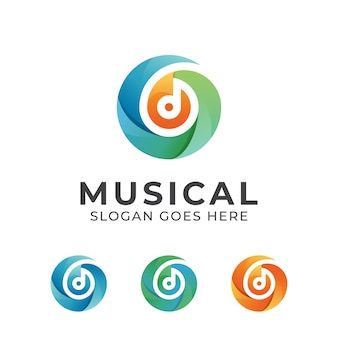 Gradient color music note, musical logo design