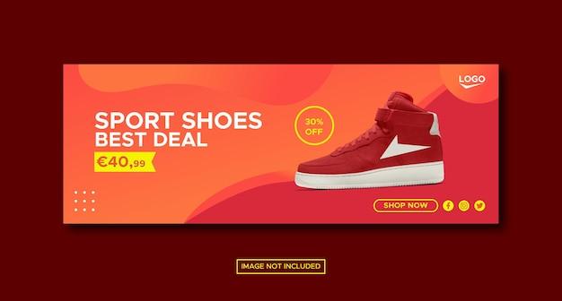 Gradient color sport shoes promotion social media facebook post banner template