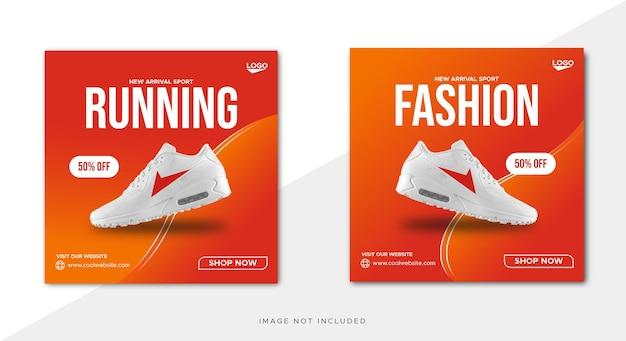 Gradient color sport shoes sale social media facebook post template