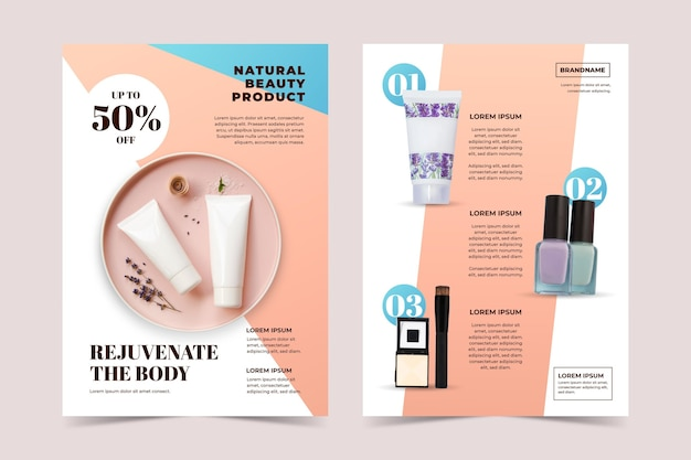 Modello di catalogo di prodotti di bellezza dai colori sfumati