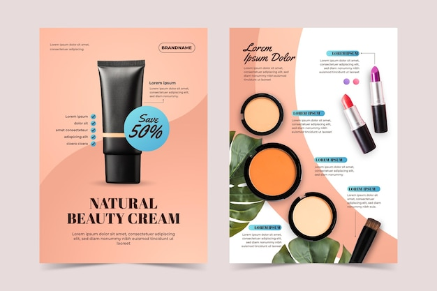 Gradient colored beauty product catalog template