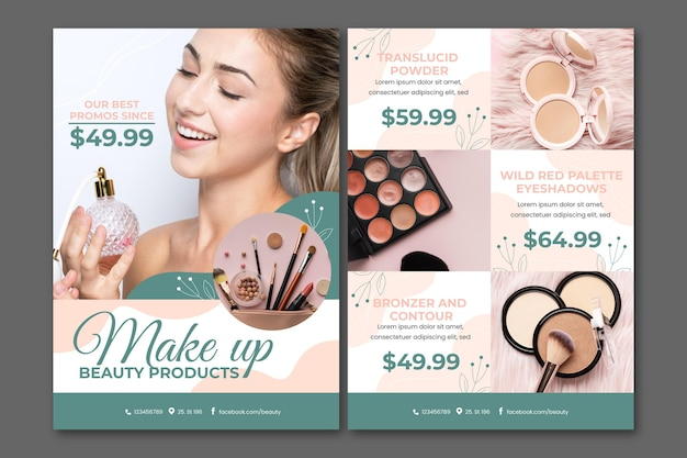 Каталог косметических товаров градиентного цвета
