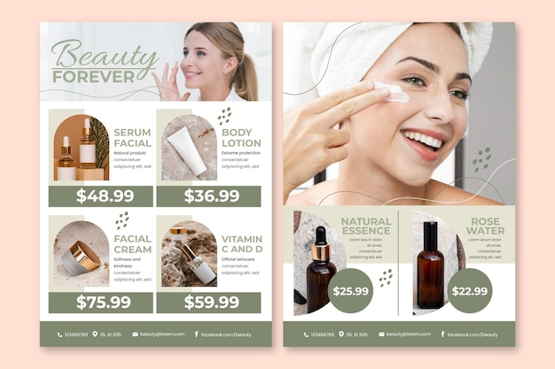Gradient colored beauty product catalog