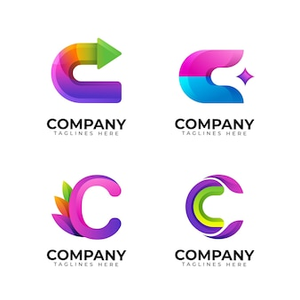 Gradient colored c logo collection