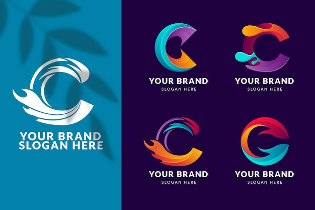 Gradient colored c logo template collection