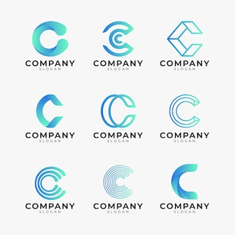 Gradient colored c logo template pack