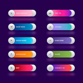 Gradient colored call to action buttons pack