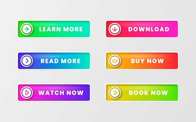 Gradient colored call to action buttons