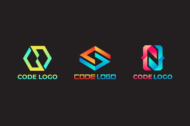Gradient colored code logo template