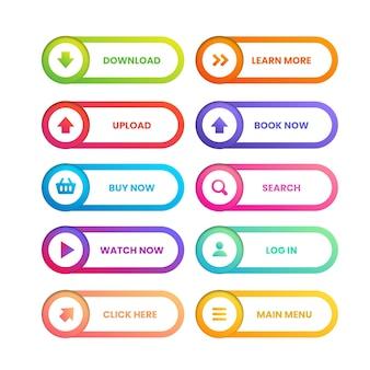 Коллекция кнопок cta градиентного цвета