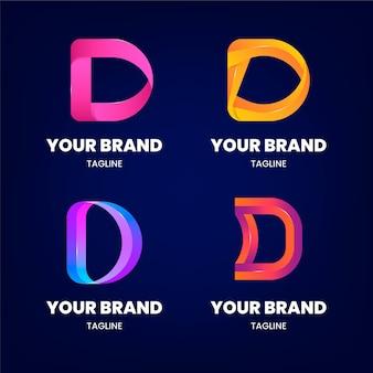 Коллекция логотипов d с градиентом
