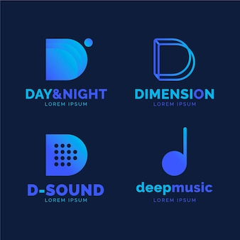 Gradient colored d logo collection