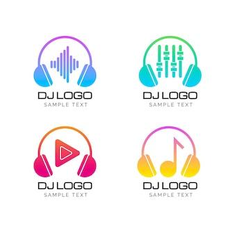 Collezione di logo dj colorato sfumato