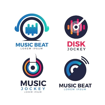 Gradient colored dj logo collection