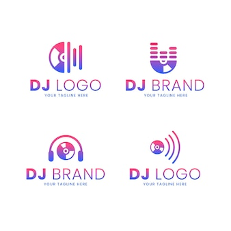 Набор градиентных цветных логотипов dj