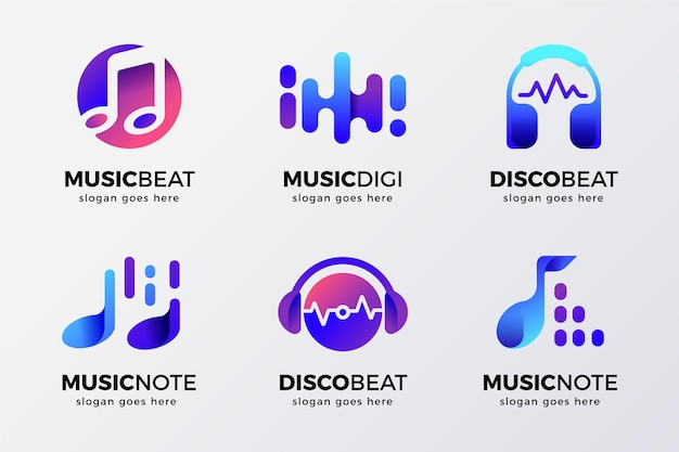 Gradient colored dj logo set