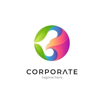 複数の色のグラデーション色のワシと葉のロゴのテンプレート