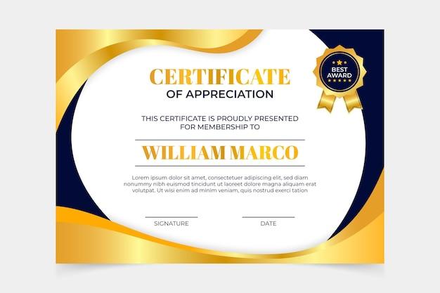Certificato elegante colorato sfumato