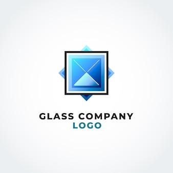 グラデーション色ガラスのロゴのテンプレート