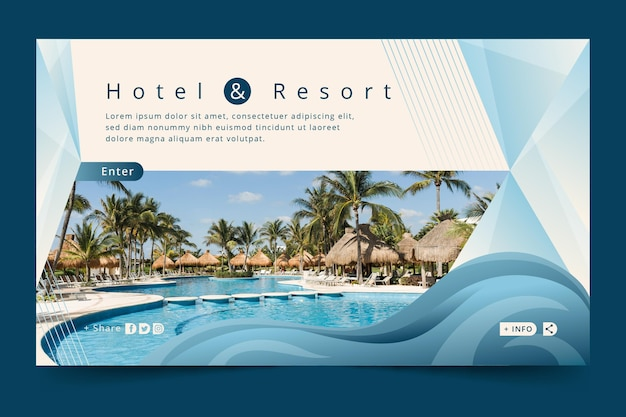 Gradient colored hotel banner template with photo