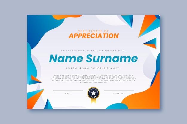 Современный сертификат градиентного цвета