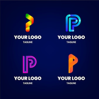 Gradient colored p logos set