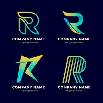 Gradient colored r logos set