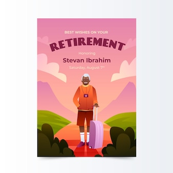 Gradient colored retirement greeting card template