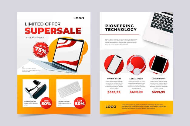 Gradient colored tech product catalog template