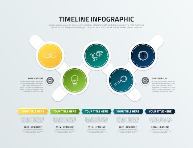Gradient colored timeline infographic template