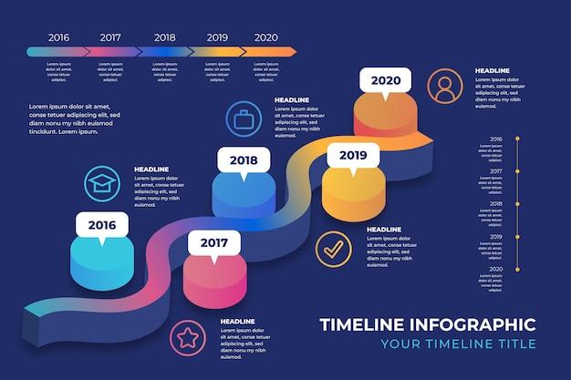 Градиент цветной временной шкалы инфографики шаблон