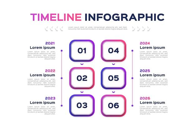 Градиент цветной временной шкалы инфографики