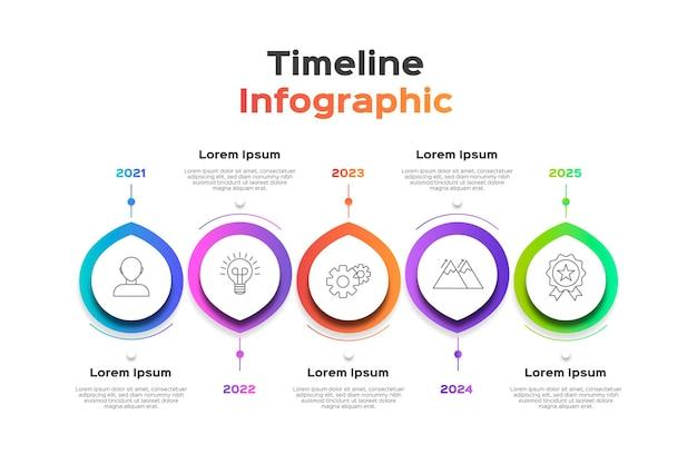 グラデーションカラータイムラインインフォグラフィック