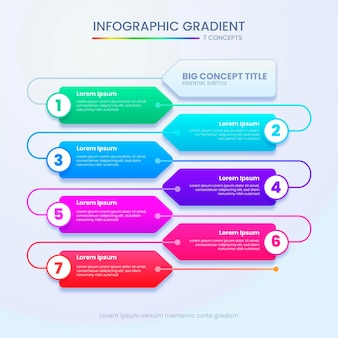 Gradient colored timeline infographic