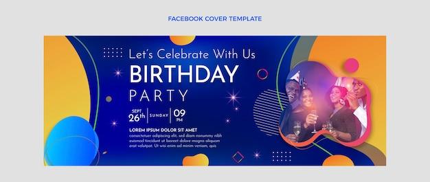 グラデーションカラフルな誕生日のfacebookカバー