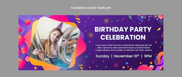 Gradient colorful birthday facebook cover