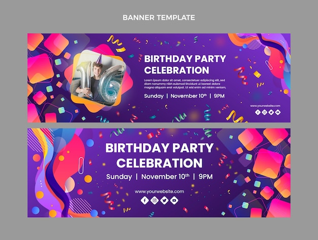 Gradient colorful birthday horizontal banners