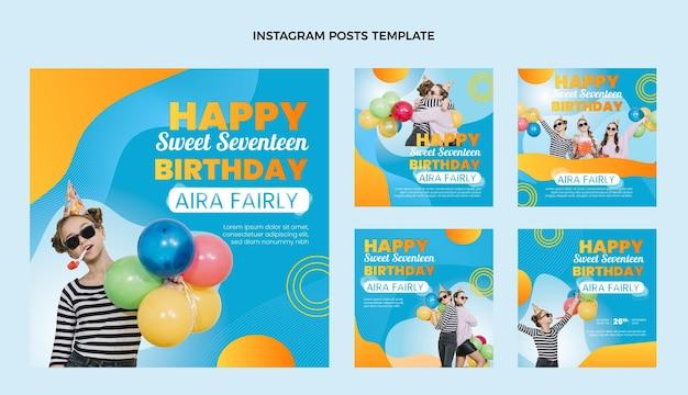 Post di instagram di compleanno colorato sfumato
