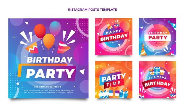 Градиент красочный день рождения instagram пост