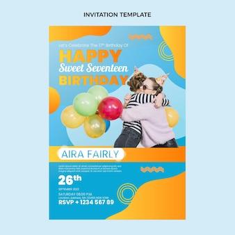 グラデーションのカラフルな誕生日の招待状のテンプレート