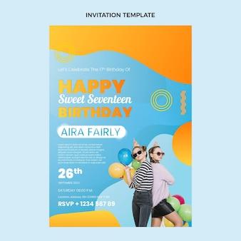 グラデーションのカラフルな誕生日の招待状