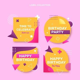 Etichetta e distintivi di compleanno colorati sfumati