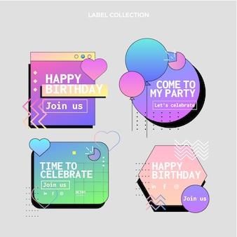 그라데이션 다채로운 생일 레이블 세트