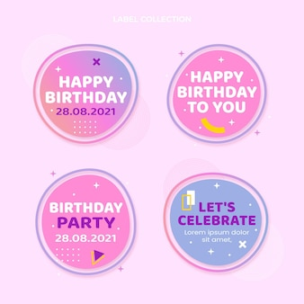 Gradient colorful birthday labels