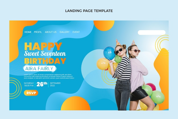 Gradient colorful birthday landing page template
