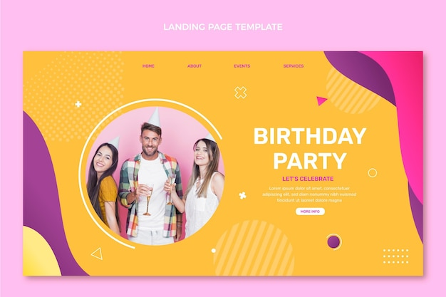 Gradient colorful birthday landing page