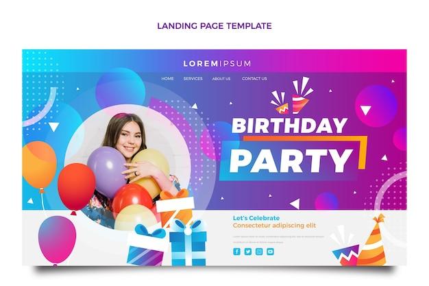 グラデーションのカラフルな誕生日のランディングページ